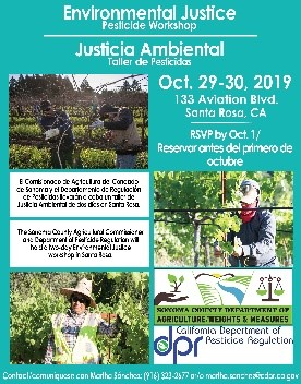 Thumbnail of Flyer for Environmental Justice Pesticide Workshop in Santa Rosa CA on October 29-30, 2019
