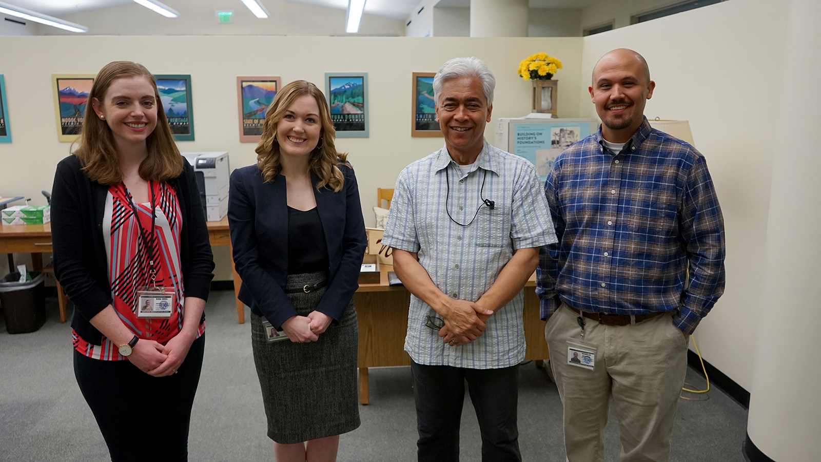 State Archives staff (L-R): Archivist Kira Dres, Acting State Archivist and Division Chief for the California State Archives Tamara Martin, and Document Preservation Technicians Juan Ramos and Nick Jackson.
