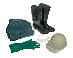 Personal protective equipment: Coveralls, boots, hard hat, eyewear, and gloves