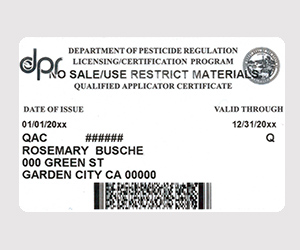 Qualified Applicator card issued by DPR