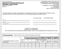 Individual license/certificate renewal application