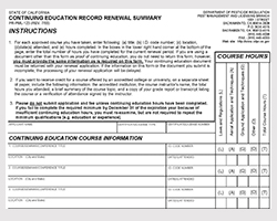 Continuing Education Record Renewal Summary form